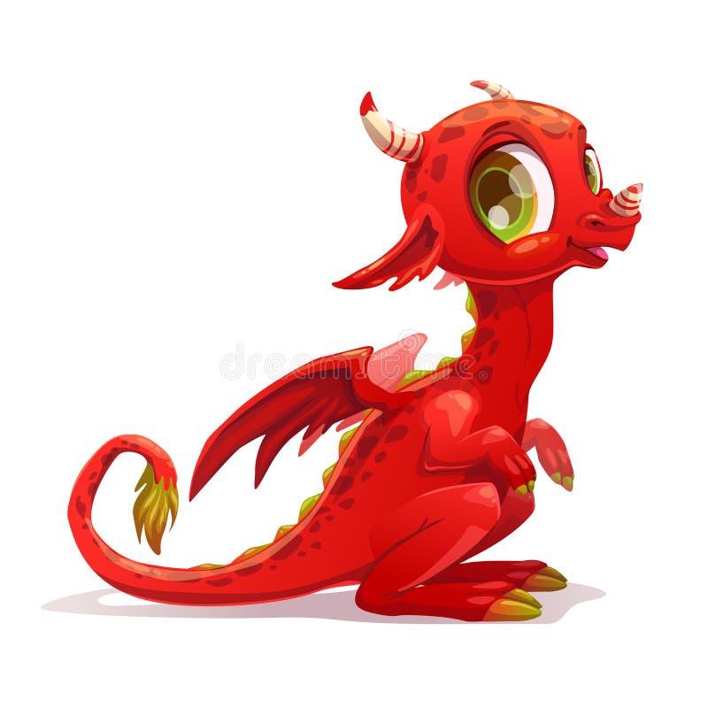 Desenhos animados engraçados pouco dragão de assento vermelho ilustração stock