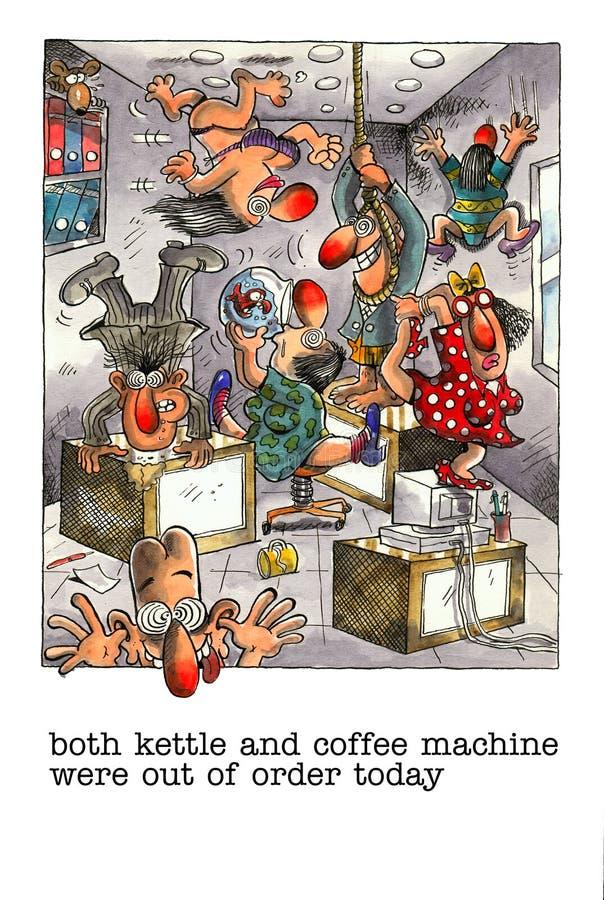 Desenhos animados engraçados sobre a vida do escritório ilustração stock