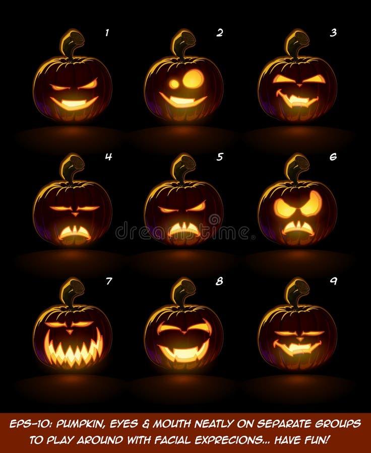 Desenhos animados escuros da lanterna de Jack O - 9 expressões do vampiro ajustadas ilustração royalty free