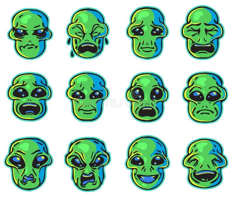 Desenhos animados estrangeiros das etiquetas das emoções ilustração do vetor