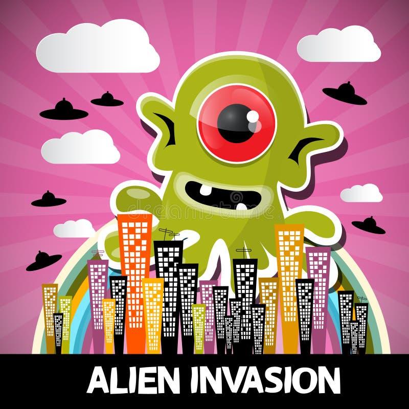 Desenhos animados estrangeiros do vetor da invasão ilustração stock