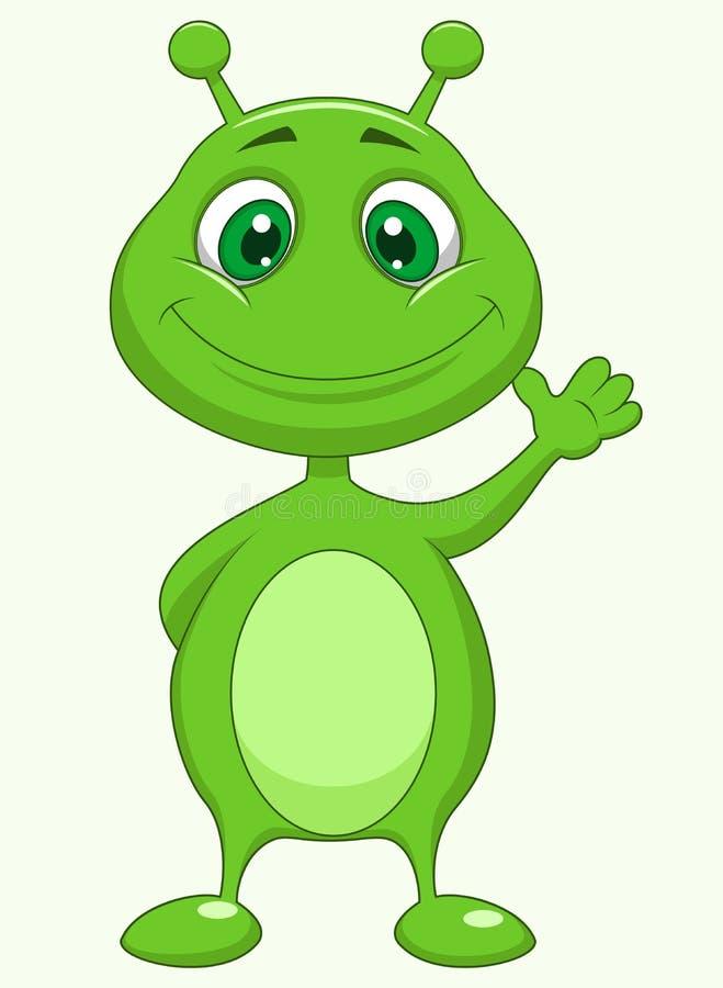 Desenhos animados estrangeiros verdes bonitos ilustração royalty free