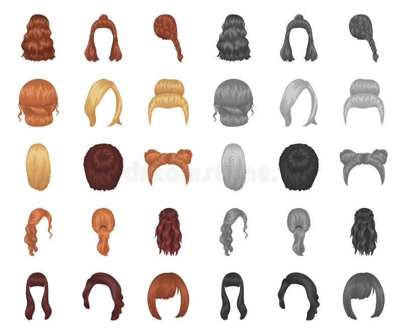 Desenhos animados fêmeas do penteado, mono ícones em coleção ajustada para o projeto Ilustração à moda da Web do estoque do símbo ilustração stock