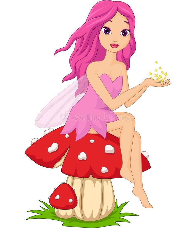 Desenhos animados feericamente cor-de-rosa bonitos que sentam-se em um cogumelo ilustração do vetor
