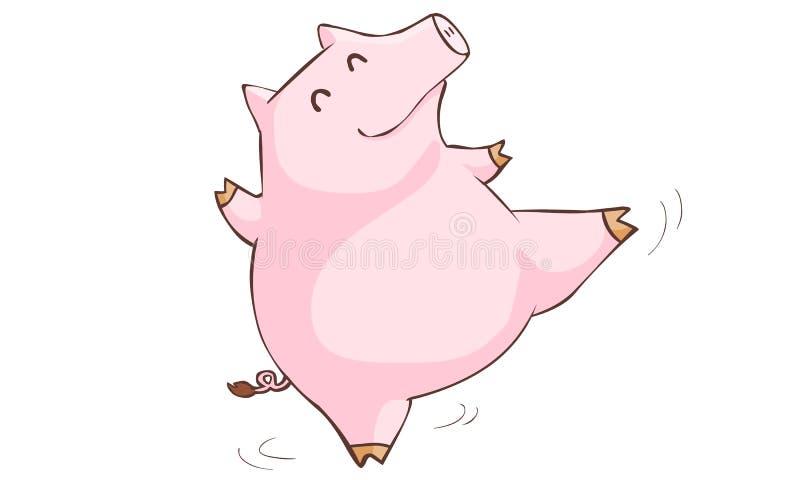Desenhos animados felizes da dança do porco cor-de-rosa ilustração stock