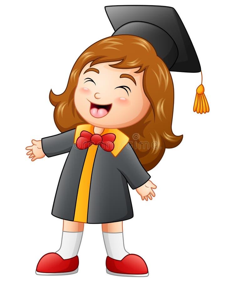 Desenhos animados felizes da menina da graduação ilustração stock