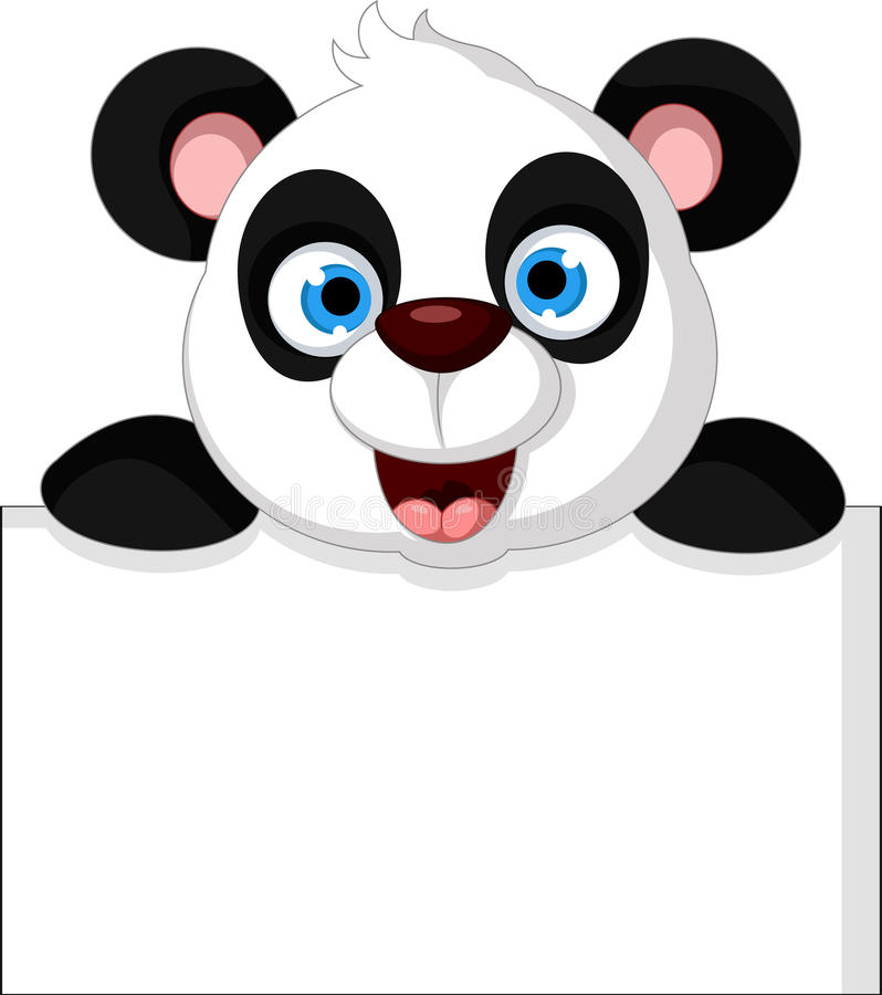 Desenhos animados felizes da panda com sinal vazio ilustração stock