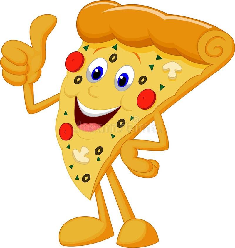 Desenhos animados felizes da pizza com polegar acima ilustração do vetor