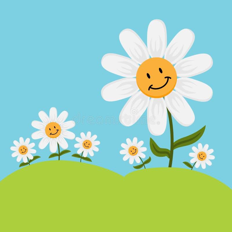Desenhos animados felizes Daisy Flowers ilustração stock