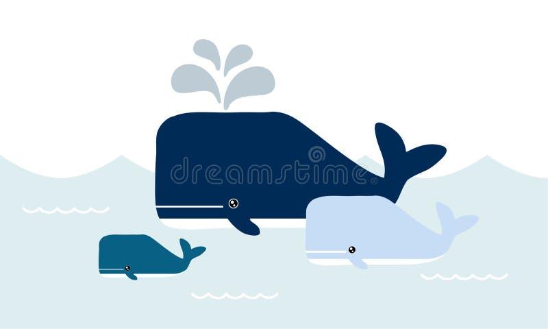 Desenhos animados felizes das baleias da família Baleia e bebê no oceano ilustração royalty free