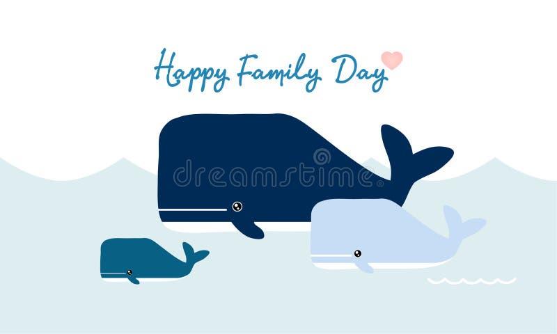 Desenhos animados felizes das baleias da fam?lia Baleia e beb? no oceano ilustração do vetor
