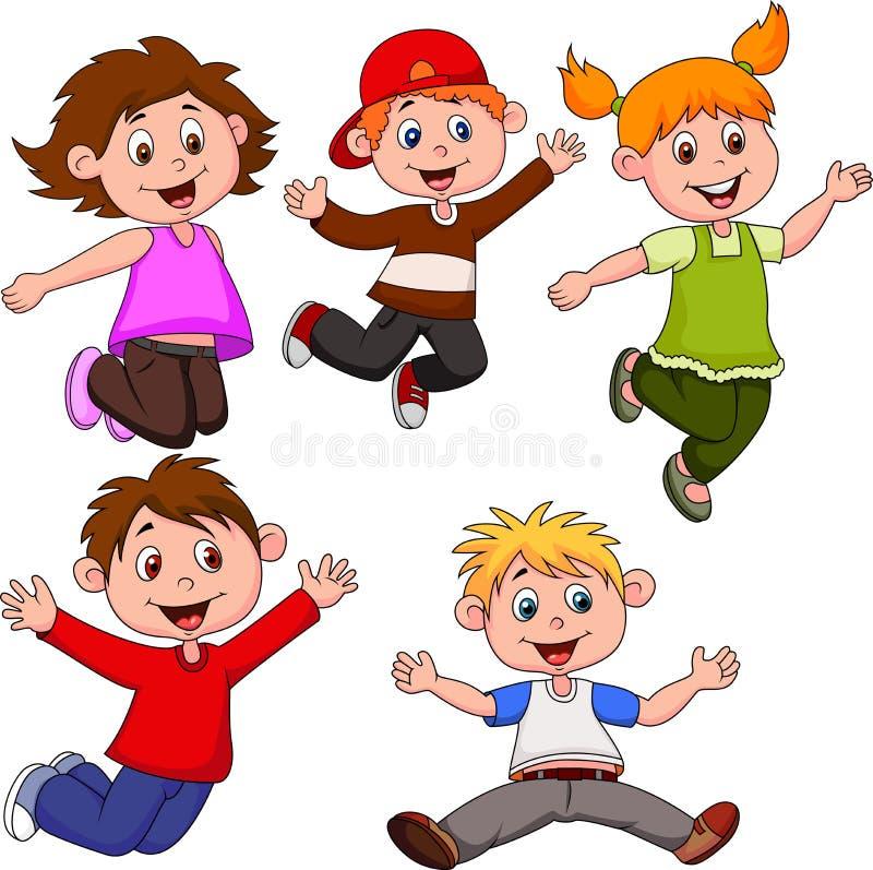 Desenhos animados felizes das crianças ilustração do vetor