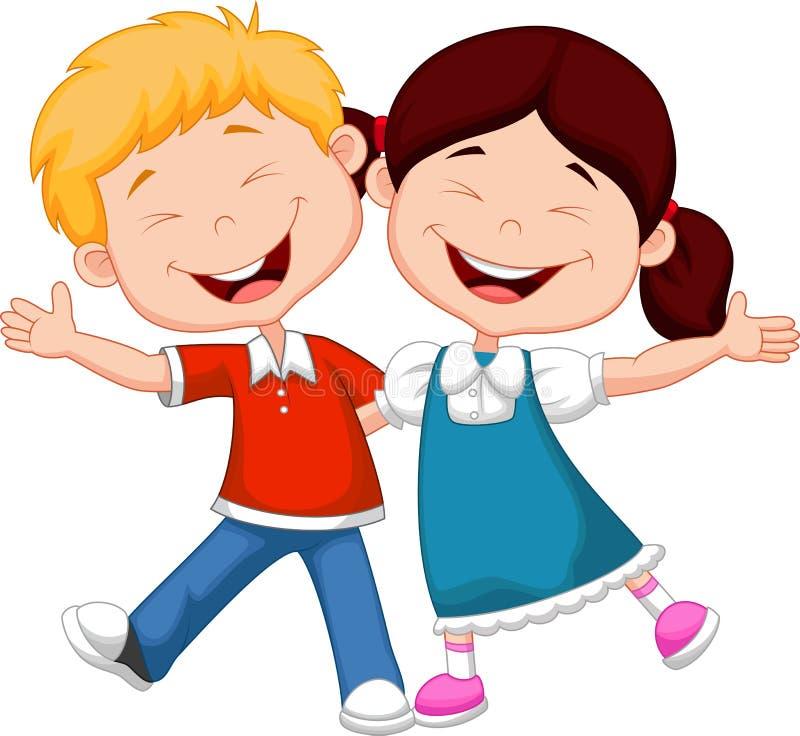 Desenhos animados felizes das crianças ilustração stock