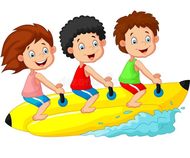 Desenhos animados felizes das crianças que montam um barco de banana ilustração royalty free