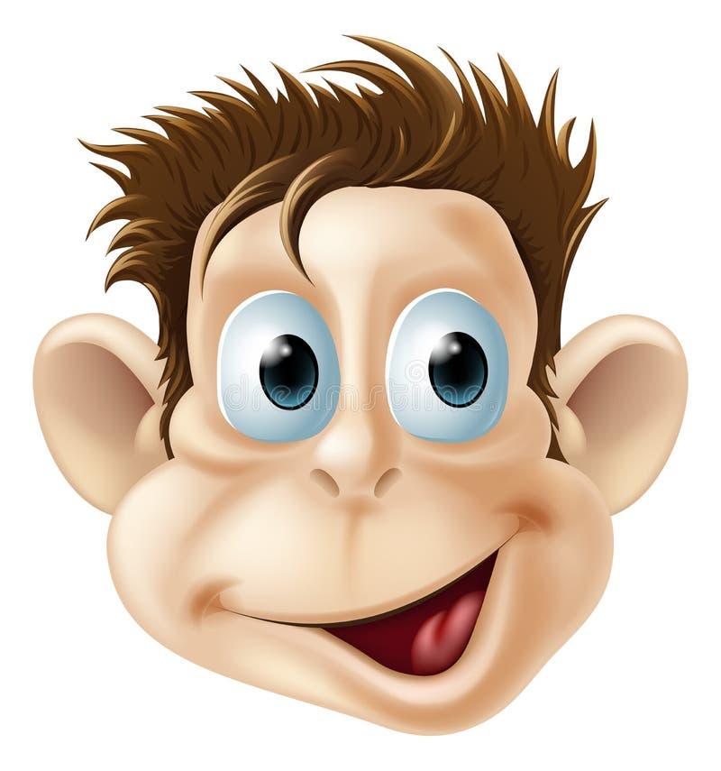 Desenhos animados felizes de riso da face do macaco ilustração royalty free