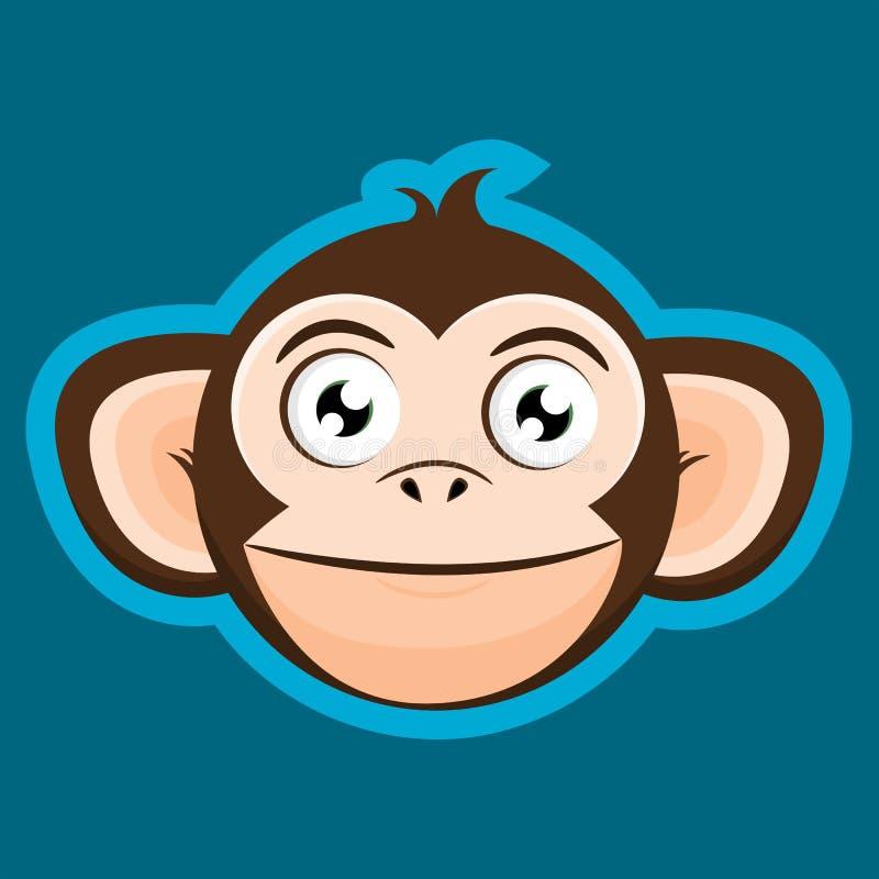 Desenhos animados felizes de sorriso da cabeça do macaco do macaco ilustração royalty free