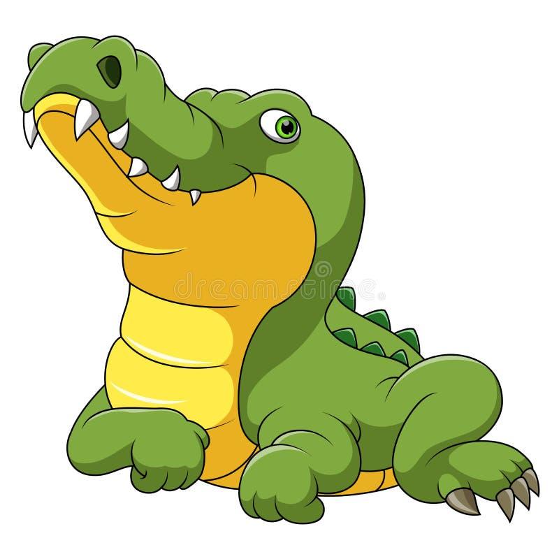 Desenhos animados felizes do crocodilo ilustração royalty free