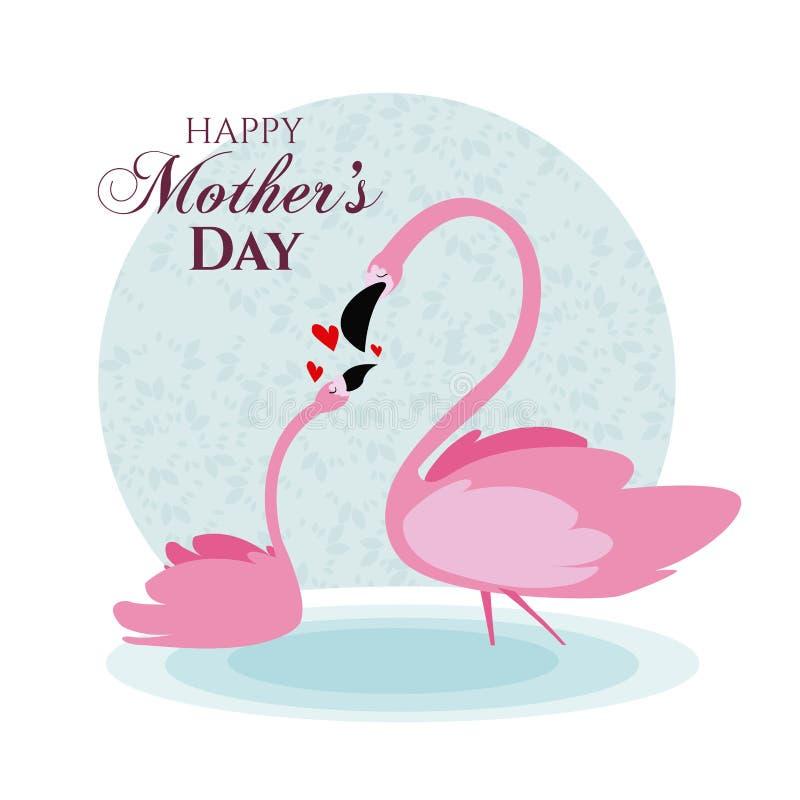 Desenhos animados felizes do flamingo do dia de mães ilustração stock