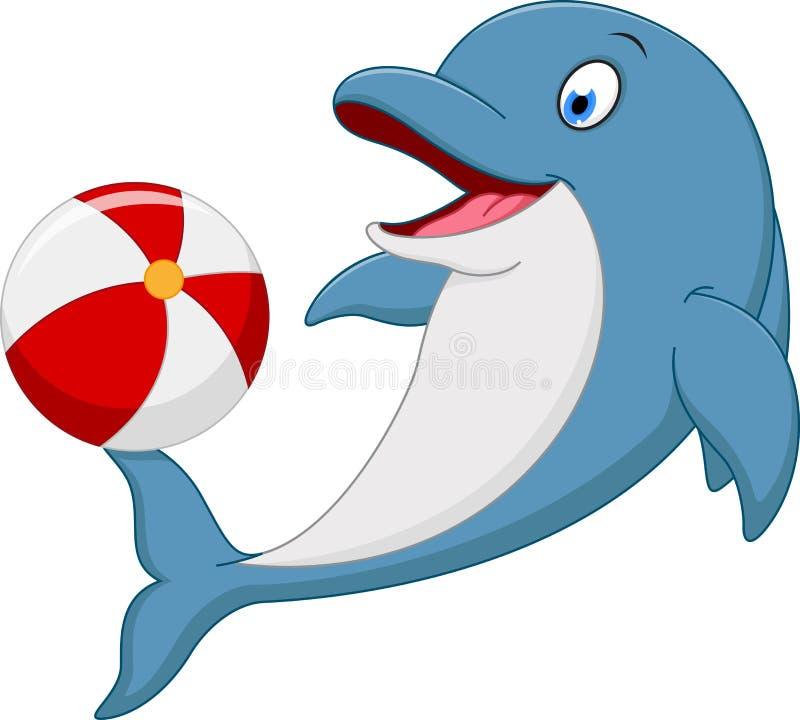 Desenhos animados felizes do golfinho que jogam a bola ilustração royalty free