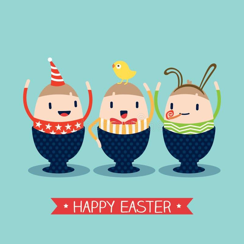 Desenhos animados felizes do ovo da páscoa ilustração royalty free