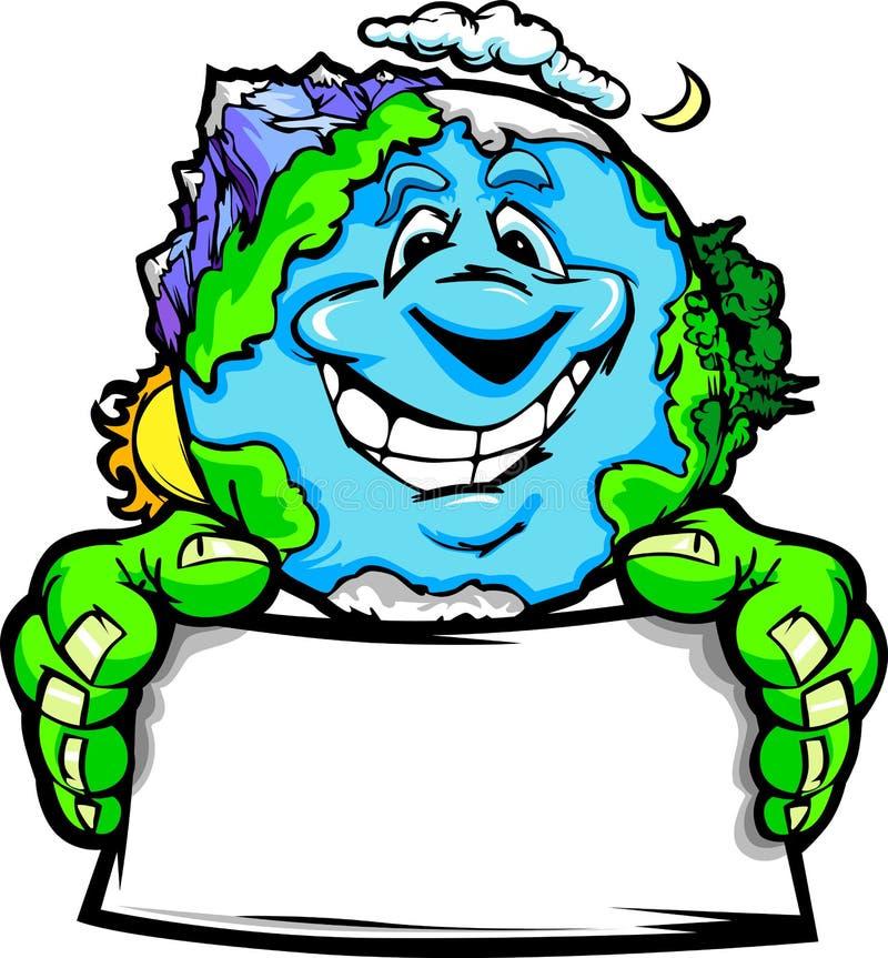 Desenhos animados felizes do sinal da terra arrendada da terra do planeta ilustração royalty free