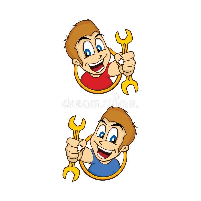 Desenhos animados felizes do sorriso do indivíduo que guardam a ferramenta do mecânico ilustração do vetor