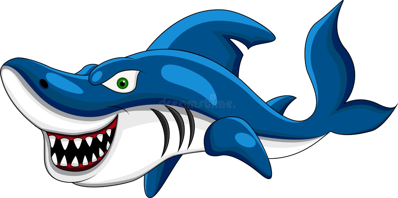 Desenhos animados felizes do tubarão ilustração royalty free