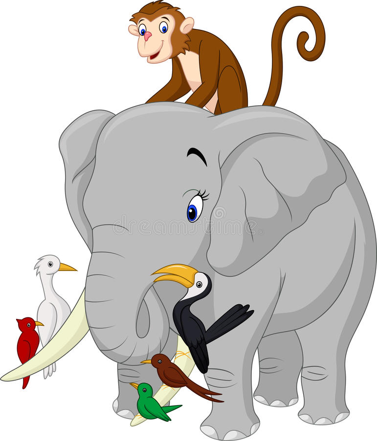 Desenhos animados felizes dos animais ilustração royalty free