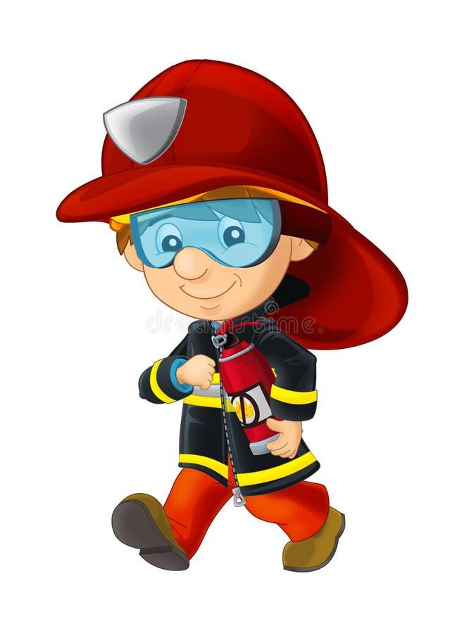 Desenhos animados felizes e bombeiro engraçado que anda com o extintor - isolado ilustração royalty free