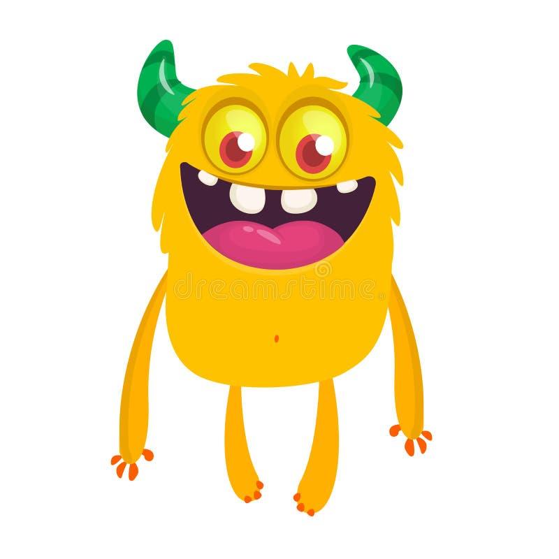 Desenhos animados felizes monstro de sorriso excitado Caráter estrangeiro do vetor ilustração stock