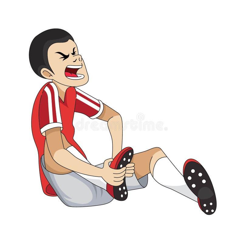 Desenhos animados feridos do jogador de futebol ilustração royalty free