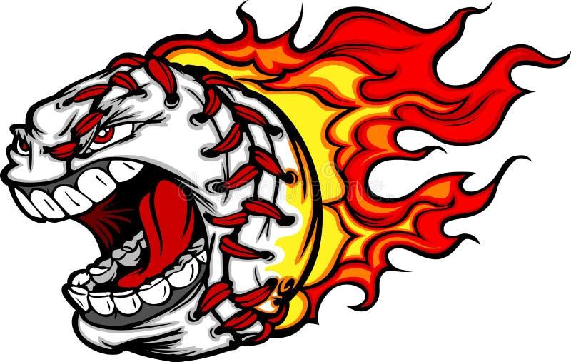Desenhos animados flamejantes da face do basebol ou do softball ilustração royalty free