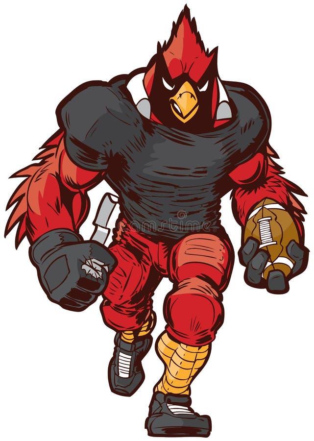 Desenhos animados Football Player Mascot cardinal do vetor no uniforme ilustração royalty free
