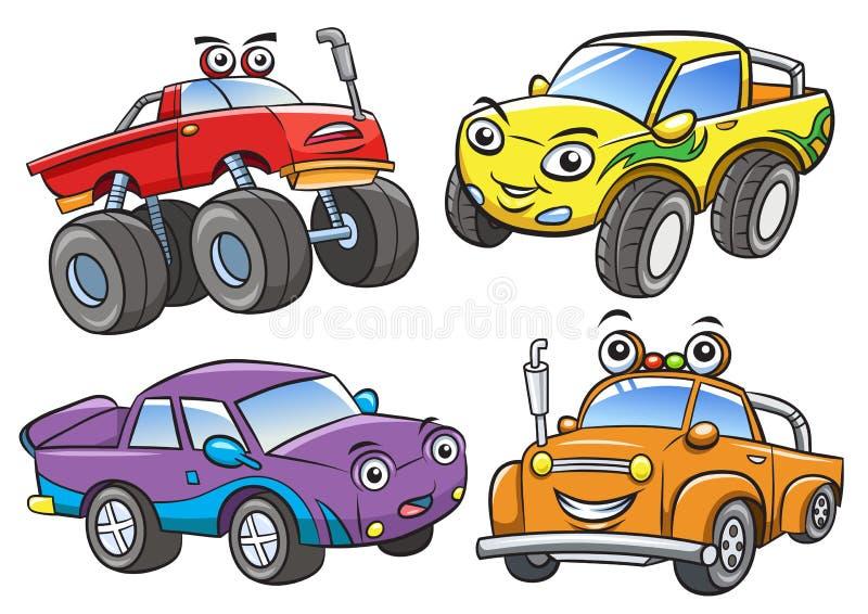 Desenhos animados fora o carro da estrada ilustração do vetor