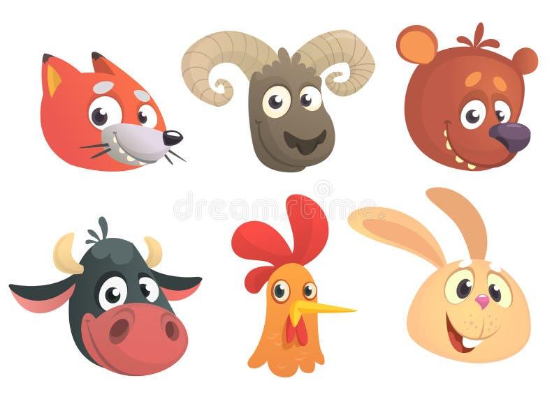 Desenhos animados Forest Animals Ilustração do vetor Fox, carneiros, urso, vaca, galo ou galinha, coelho ilustração royalty free