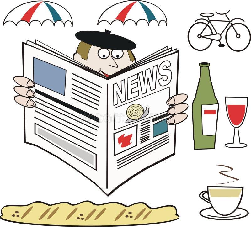 Desenhos animados franceses do jornal da leitura do homem ilustração stock