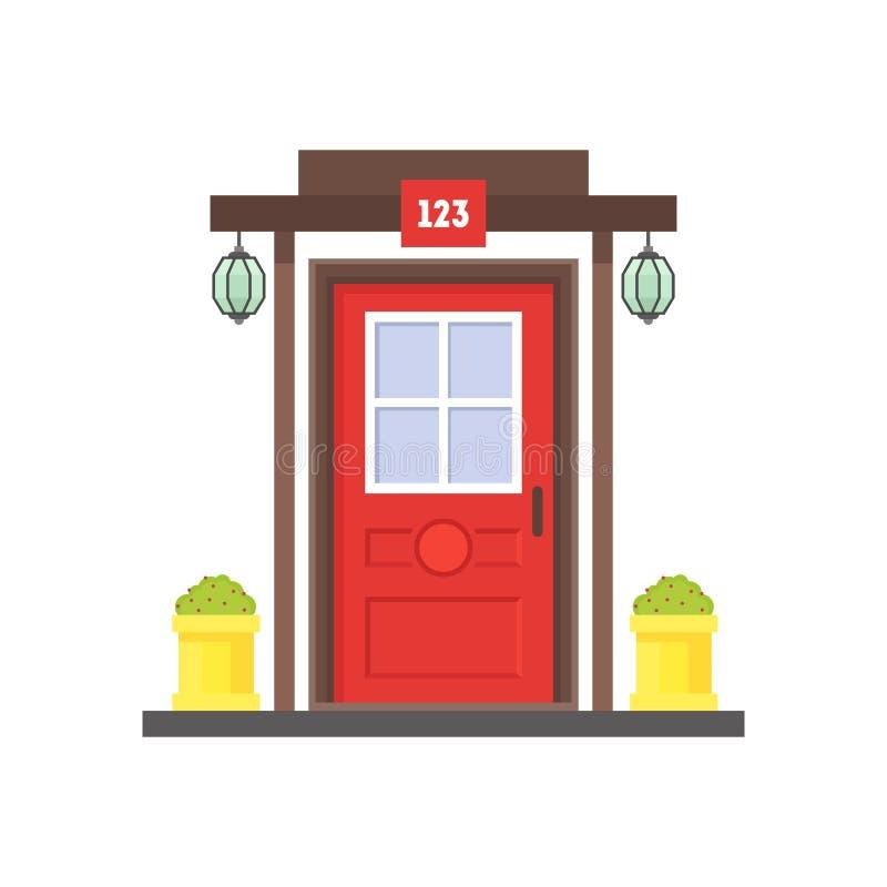 Desenhos animados Front Door vermelho da casa Vetor ilustração royalty free