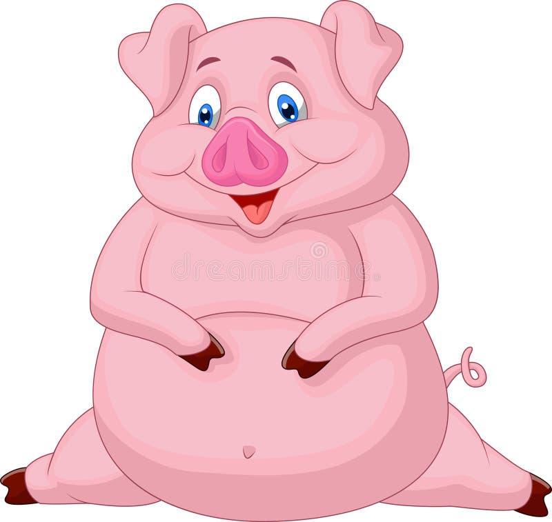Desenhos animados gordos do porco ilustração do vetor