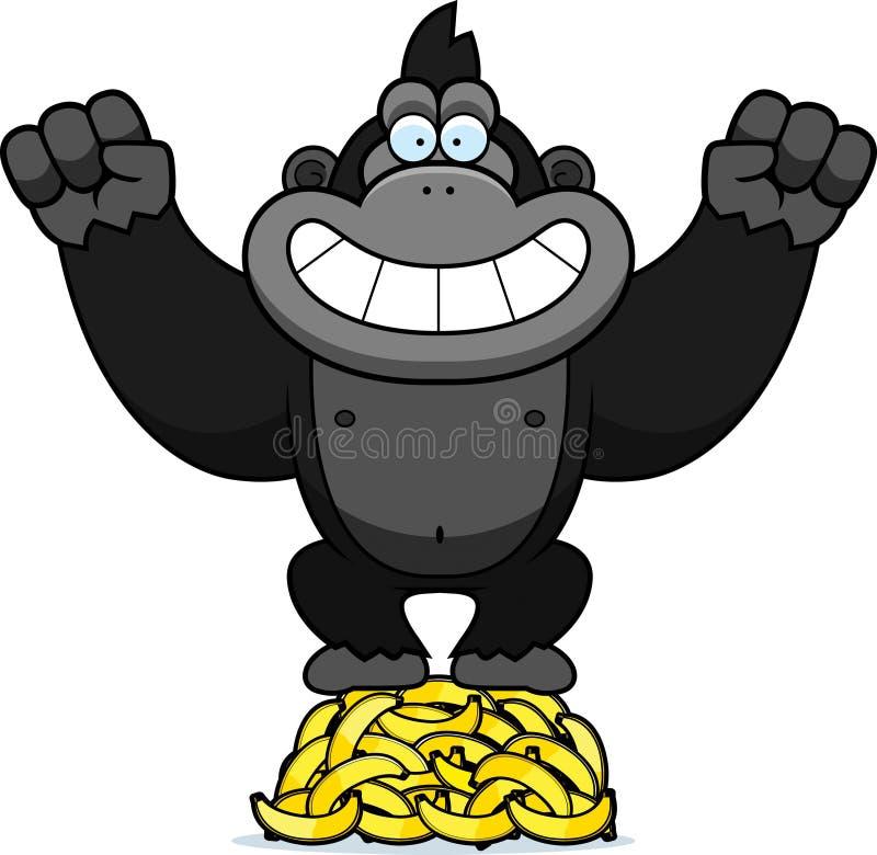 Desenhos animados Gorilla Bananas ilustração royalty free