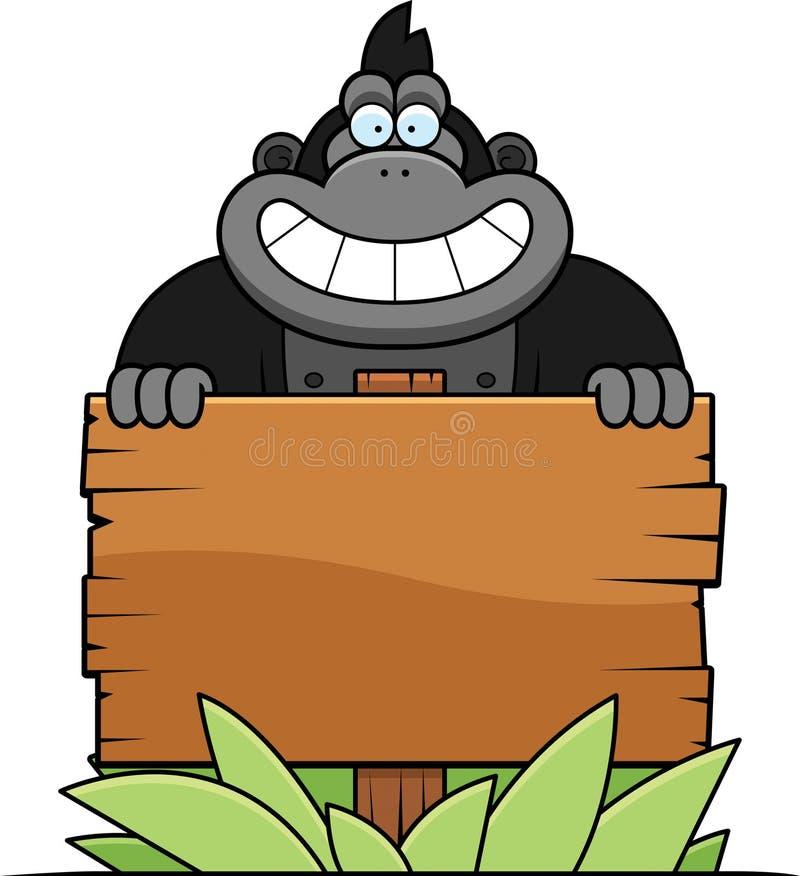 Desenhos animados Gorilla Sign ilustração do vetor