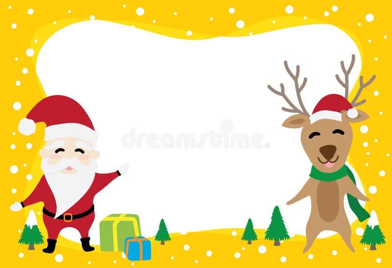Desenhos animados gráficos da beira sobre Papai Noel e rena no dia de Natal ilustração do vetor