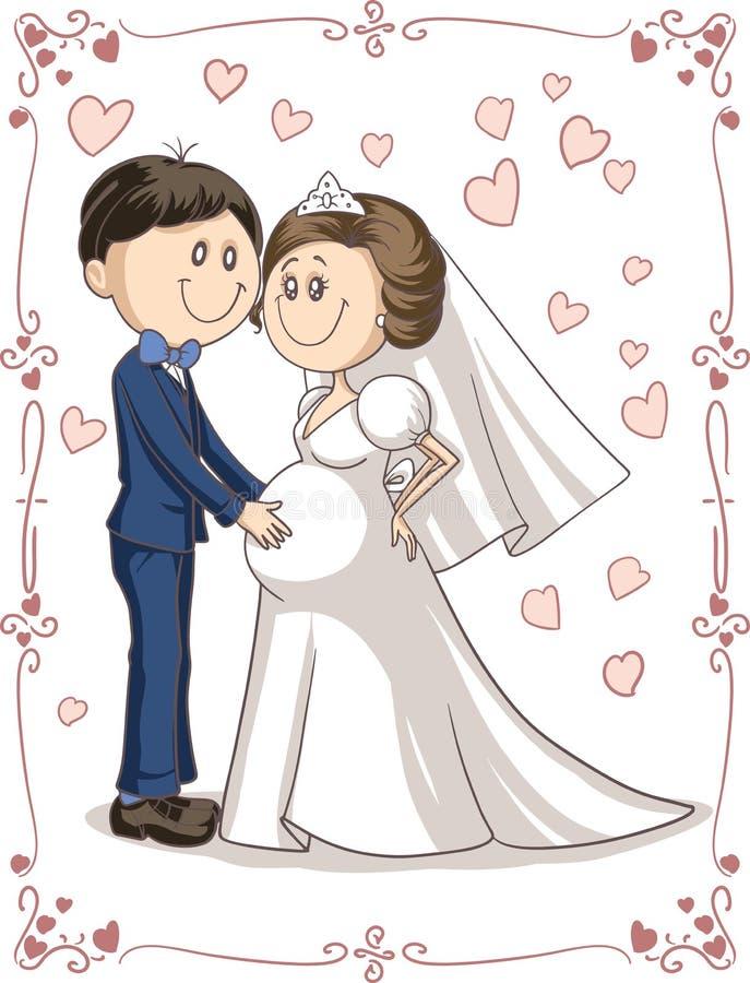 Desenhos animados grávidos do vetor do convite do casamento dos pares ilustração stock