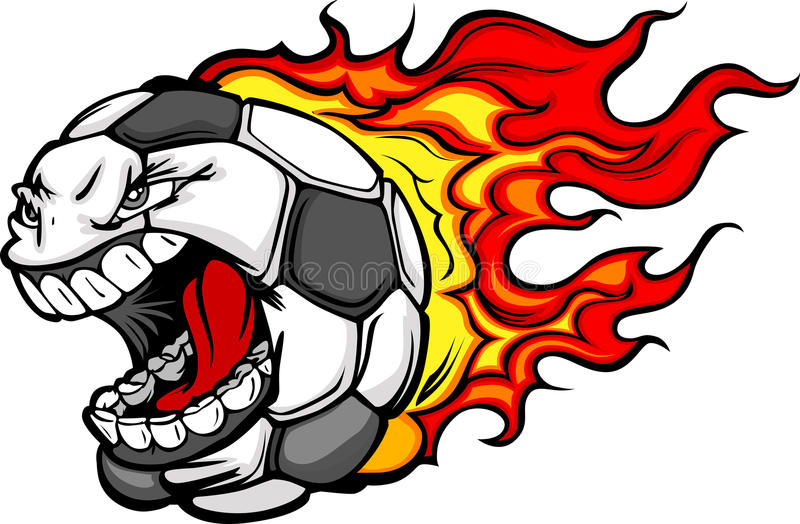Desenhos animados gritando flamejantes da face da esfera de futebol ilustração do vetor