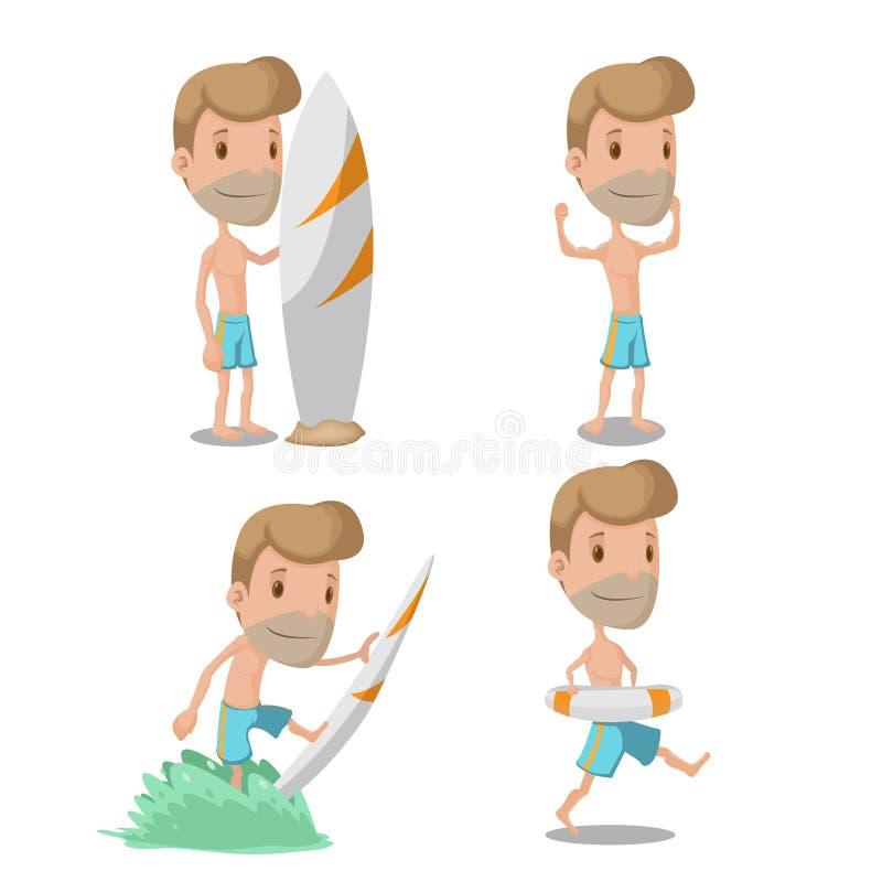 Desenhos animados Guy Character Set Vetora do surfista imagens de stock royalty free