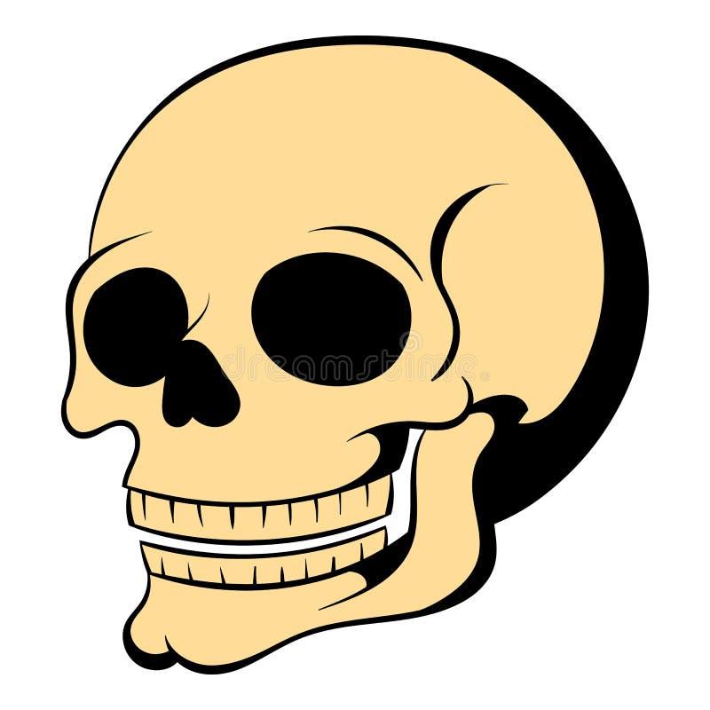 Desenhos animados humanos do ícone do crânio ilustração do vetor