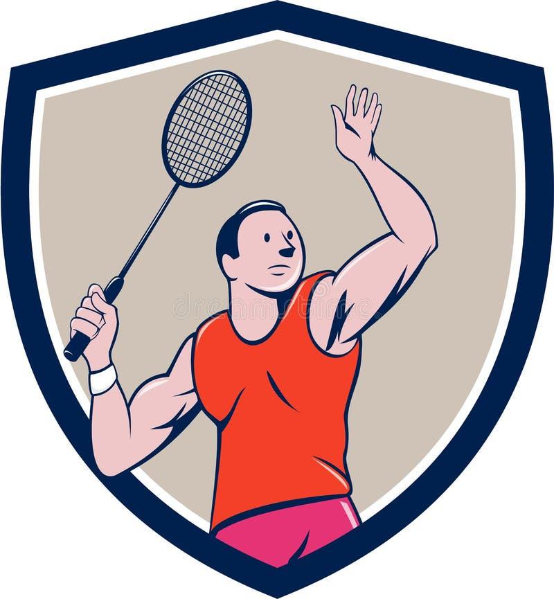 Desenhos animados impressionantes da crista da raquete do jogador do badminton ilustração do vetor