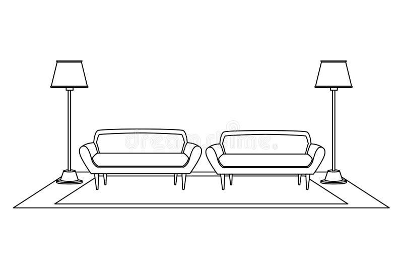 Desenhos animados interiores do ícone da casa da mobília em preto e branco ilustração stock