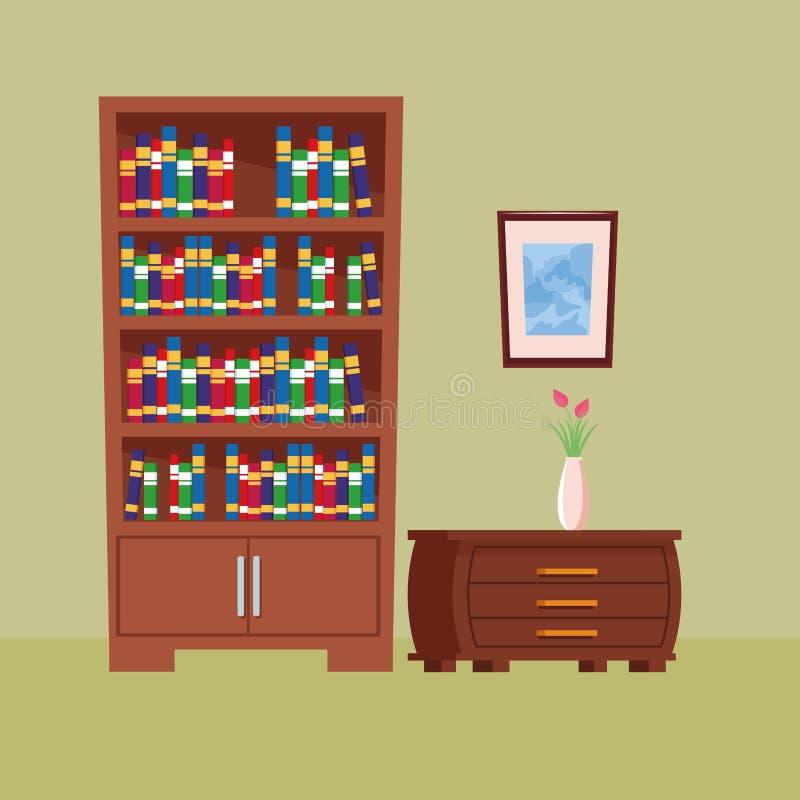 Desenhos animados interiores do ícone da casa da mobília ilustração royalty free