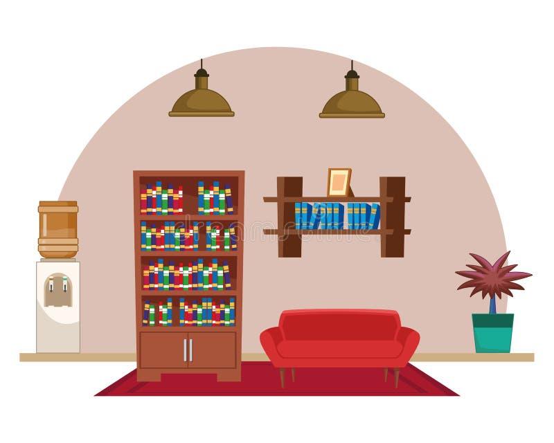 Desenhos animados interiores do ícone da casa da mobília ilustração do vetor