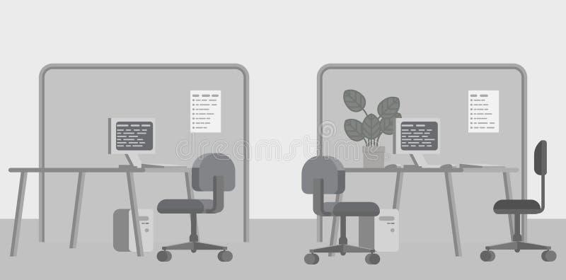 Desenhos animados interiores do fundo liso das mesas de escritório ilustração royalty free